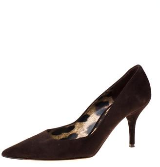 Dolce & Gabbana Dark Brown Suede Pointed Toe Pumps Size 39.5