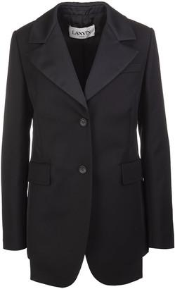 Lanvin Woman Black Tailored Jacket With Oblique Seams