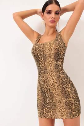 I SAW IT FIRST Nude Snake Print Scoop Back Mini Dress