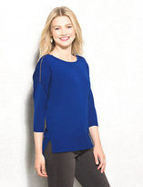 dressbarn roz&ALI Drop Shoulder Zipper Pullover