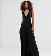 Asos Tall DESIGN Tall ruffle wrap maxi dress with tie detail