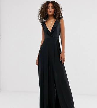 Asos Tall DESIGN Tall ruffle wrap maxi dress with tie detail-Black
