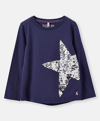 Joules Girls' Pullover Sweaters - Blue Sequin-Star Ava Long-Sleeve Swing Top - Toddler & Girls