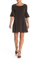 Angie Metallic Knit Bell Sleeve Mini Dress