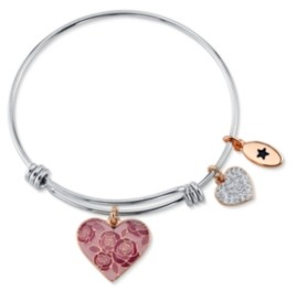 "Unwritten Mom You Are Nothing Short of Amazing"" Pink Enamel Heart Crystal Bangle Bracelet in Stainless Steel"