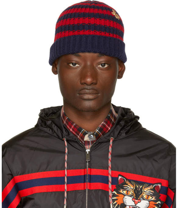 Gucci Red and Navy Striped Wool Beanie