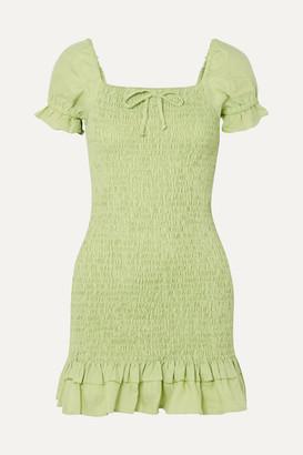 Faithfull The Brand Cette Shirred Linen Mini Dress - Lime green