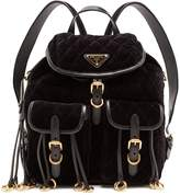 Prada Leather-trimmed quilted-velvet backpack