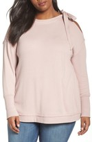 Caslon Plus Size Women's Tie Shoulder Sweatshirt