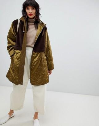 ASOS DESIGN faux fur paneled parka-No Color