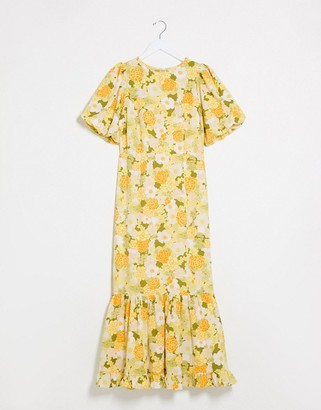 ASOS DESIGN puff sleeve maxi dress with pephem in 70's floral