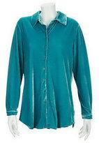 Denim & Co. As Is Essentials Long Sleeve Stretch Velvet Tunic Big Shirt