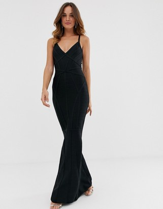 Lipsy plunge front fishtail bandage maxi dress in black