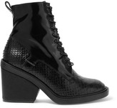 Robert Clergerie Bono Snake-effect And Patent-leather Ankle Boots - Black
