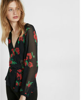 Express petite floral print semi-sheer surplice blouse