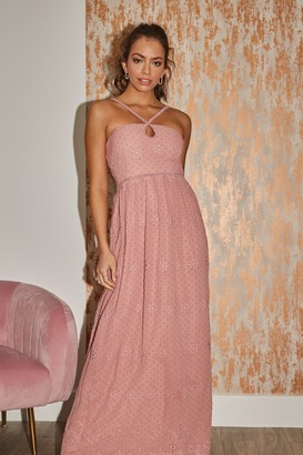 Little Mistress Isobel Apricot Dobby Spot Keyhole Maxi Dress