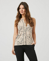Le Château Floral Crepe V-Notch Sleeveless Blouse