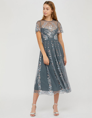 Under Armour Delilah Embroidered Midi Dress Grey