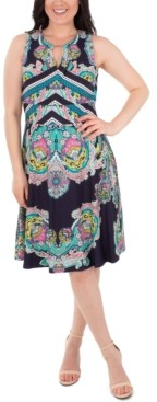 NY Collection Embellished Printed Dress