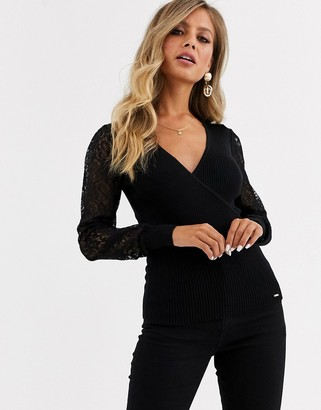 Morgan wrap front jumper with lace sleeves in black