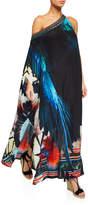 Camilla One-Shouldered Floral Silk Caftan