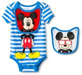 Mickey Mouse Newborn Boys' Disney Mickey Mouse Bodysuit & 2 Bib Set - Blu