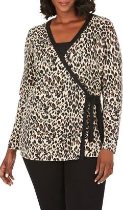Foxcroft London Evening Leopard Wrap Cardigan