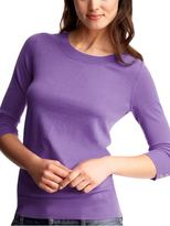 Cropped-sleeve sweater