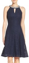 London Times Beaded Lace Fit & Flare Dress