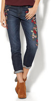 New York & Co. Soho Jeans - Embroidered Relaxed Boyfriend Jean - Indigo Blue Wash
