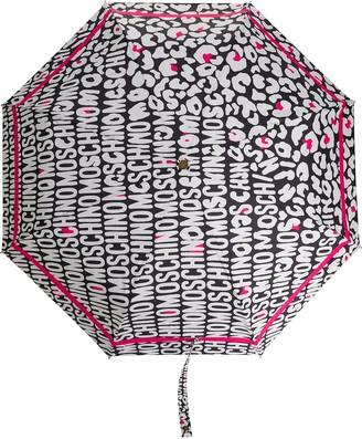 Moschino Logo-Print Leopard-Print Umbrella