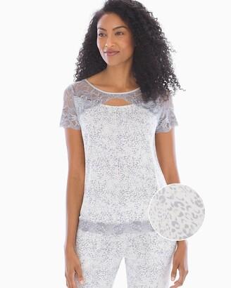 Soma Intimates Signature Lace Short Sleeve Pajama Top Edge Texture Ivory