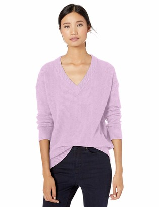 Goodthreads Amazon Brand Women's Wool Blend Thermal Stitch V-Neck Sweater