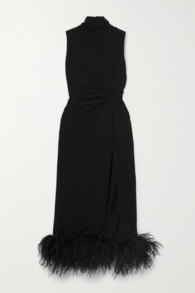 16Arlington Maika Feather-trimmed Knotted Crepe Midi Dress - Black