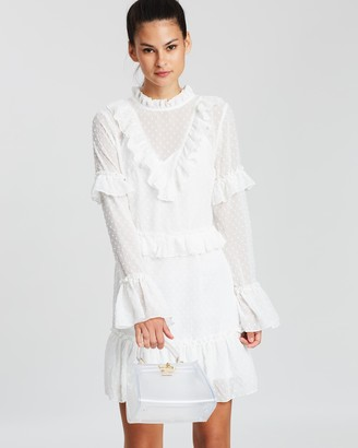 Missguided High Neck Ruffle Dobby Dress