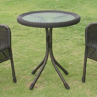Lark Manor Narron Glass Bistro Table Color: Antique Black