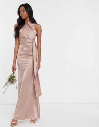 TFNC Bridesmaid multi way maxi dress in mink