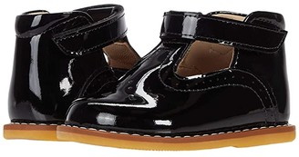 Elephantito Suede T Bar (Toddler) (Patent Black) Girl's Shoes