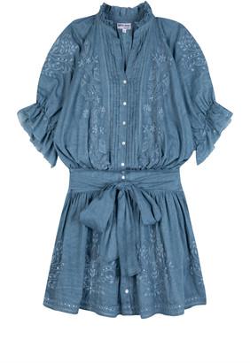 Juliet Dunn Embroidered Washed Cotton Mini Shirt Dress