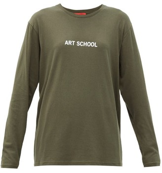 Art School - Logo-print Cotton-jersey T-shirt - Khaki White