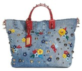 Dolce & Gabbana Small Embellished Denim Tote - Blue