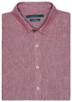 Perry Ellis Short Sleeve Solid Linen Chambray Shirt