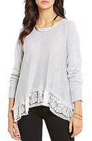 Takara Dolman-Sleeve Lace-Hem Sweater