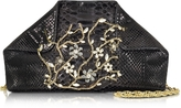Ghibli Black Python Shoulder Bag w/Crystals