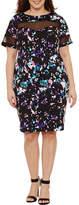 Boutique + + Short Sleeve Mesh Insert Knit Bodycon Dress-Plus