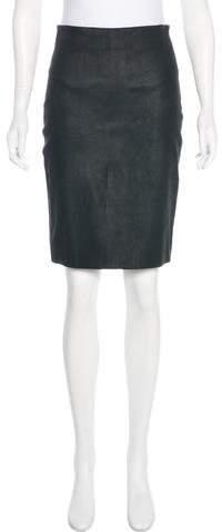 The Row Knee-Length Suede Skirt