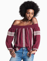 Lucky Brand Off The Shoulder Embroidered Peasant Top