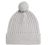 Johnstons of Elgin Potash Cashmere Chunky Ribbed Hat With Pom Pom