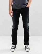 Nudie Jeans Thin Finn Slim Jeans Black Smoke Blasted