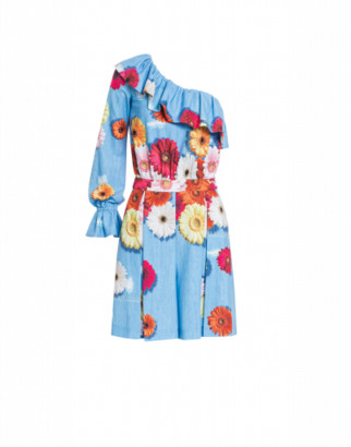 Boutique Moschino Crepe Dress With Gerbere Print Woman Blue Size 38 It - (4 Us)